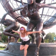 Spice Posing for Olympic Statue